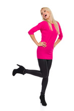 Carefree Beautiful Woman Is Standing On One Leg Looking Away And Shouting Sticker