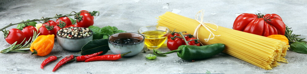 Italian food background with different types of pasta, health or vegetarian concept. © beats_