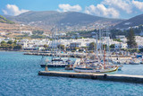 CHORA, GREECE - OCTOBER 6, 2015: The harbor in Chora town on the Ios island in the Aegean Sea (Greece).