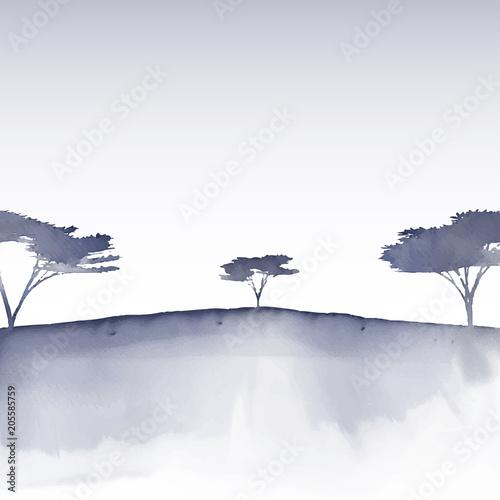 Watercolour tree landscape - 205585759