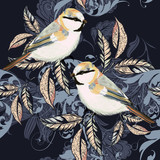 Beautiful pattern with ornament and birds in vintage style - 205586900
