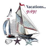 Sea vacations illustration with watercolor ship - 205589311