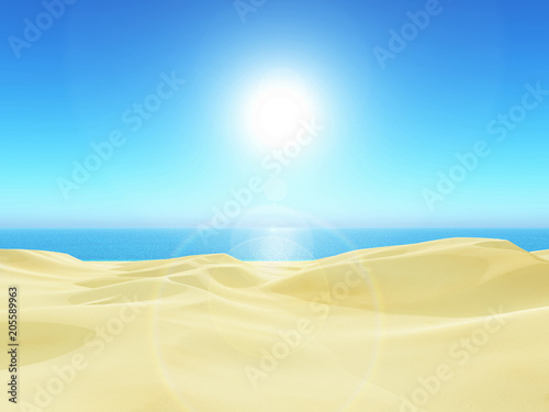 Fotobehang Blauw 3D tropical landscape with sand and sea