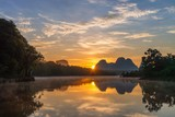 Scenic view of morning sunrise at Nong Thale village , Krabi province, Thailand.