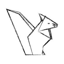Chipmunk Origami Paper Animal  Illustration Design Sticker