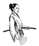 Samurai warrior with a sword. Ink black and white illustration