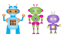 Cartoon Robot  Set Sticker