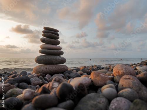 Stones balance on beach
