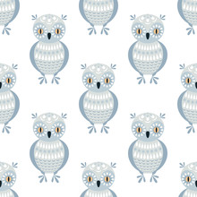Decorative Seamless Pattern In Folk Style  Owl Colorful   Sticker