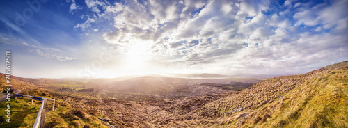 Fotobehang Cappuccino Panoramic landscape with sunny sunset in a county Kerry