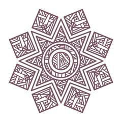Line art of circular intricate mandala design for coloring books