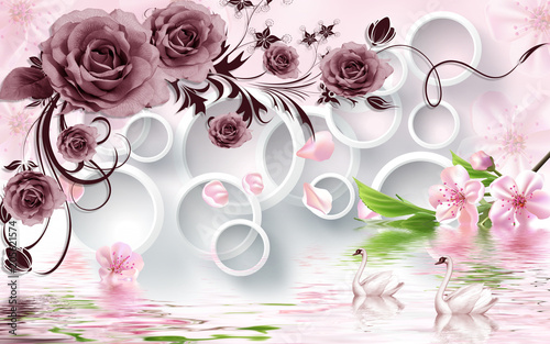 Rose flowers on 3d white circle background with duck wallpaper for walls.