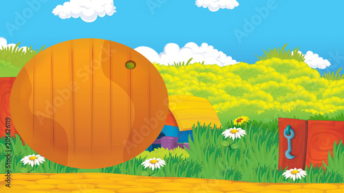 Fotobehang Boerderij cartoon happy and sunny farm scene - title page for different usage - illustration for children