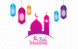 Eid al fitr with colorful mosque, lantern, and white background