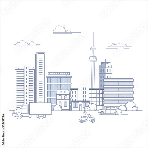 Modern city landscape with buildings and urban transport