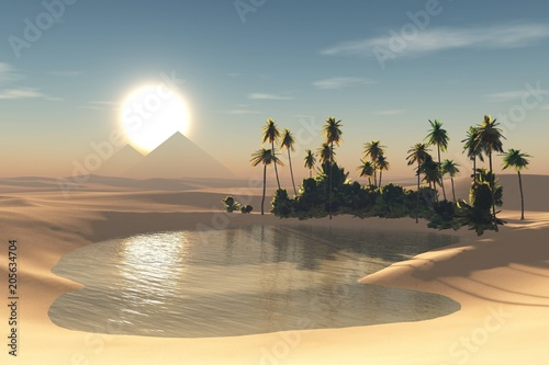 oasis in the desert, a pond with palm trees in the sands at sunset