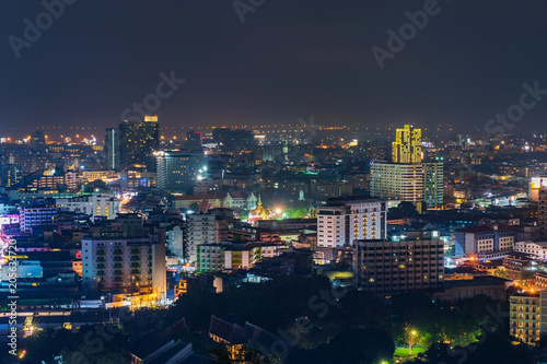 Wall mural Pattay cityscape view at night, Thailand
