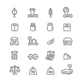 Weight related icons: thin vector icon set, black and white kit