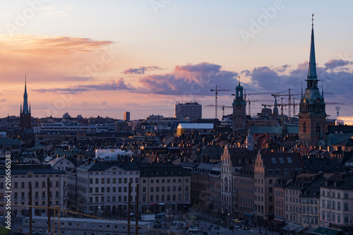 Fotobehang Stockholm Sunset at Stockholm, Sweden