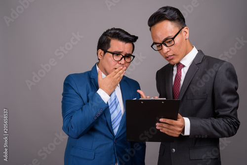 Young multi-ethnic businessman and young Indian businessman agai