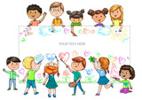 Fototapety Funny cartoon children of different nationalities hold empty banner for your advertising