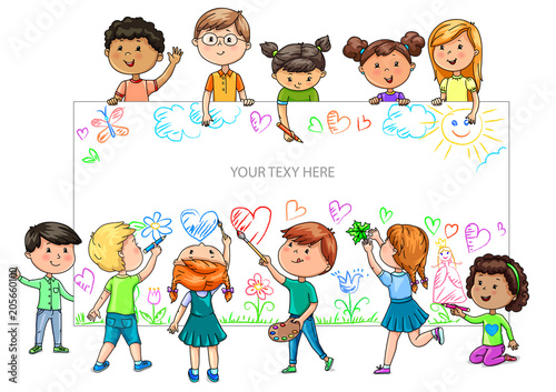 Funny cartoon children of different nationalities hold empty banner for your advertising - 205660100