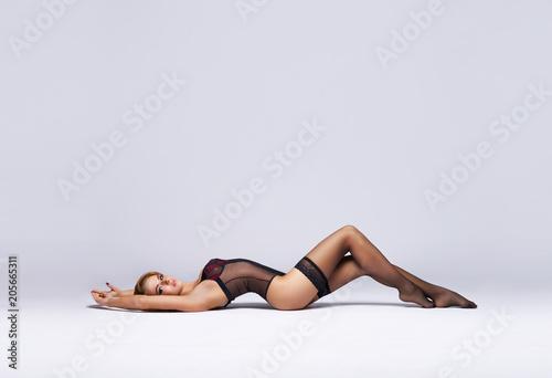Leinwanddruck Bild Sexy woman in beautiful lingerie. Girl posing in underwear.