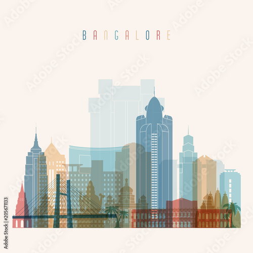 Bangalore skyline detailed silhouette. Transparent style. Trendy vector illustration.