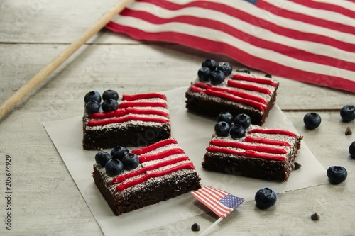 Poster American Flag Brownies / 4th of July Memorial Day dessert