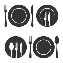 Plate  Fork And Knife Icons Set   Sticker