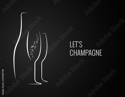 champagne bottle and glass silhouette on back backgrond