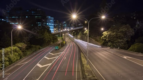 Wall mural Night lapse of traffic on highway, wellington new zealand.
