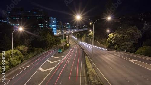 Obraz na płótnie Night lapse of traffic on highway, wellington new zealand.