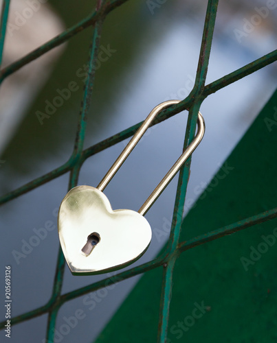 Padlock In The Form Of Gold Heart Symbol Of The Wedding And The
