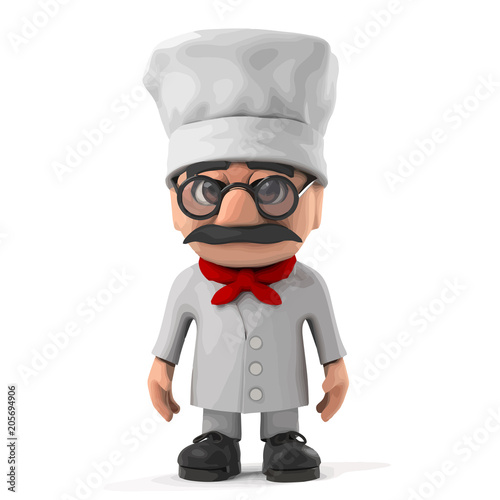 Wall mural 3d Funny Italian pizza chef character