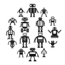 Robot Icons Set Simple  16 Robot  Icons For Web Sticker