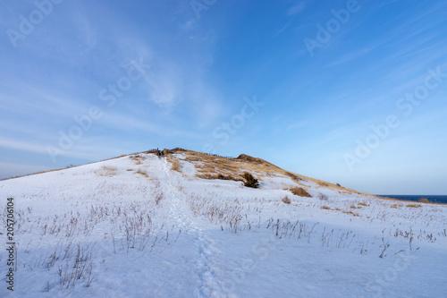 冬の利尻島・夕陽ヶ丘展望台