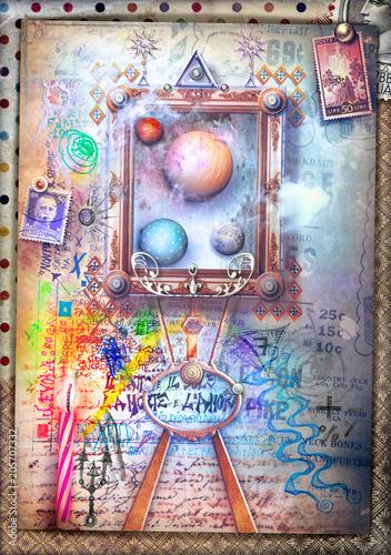 Aluminium Imagination Street art. Mural and graffiti with window-frame on dreams and imagination