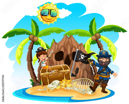 A Pirate with Happy Girl on Island