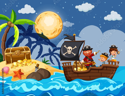 Fototapeta Pirate and Children Finding Treasure