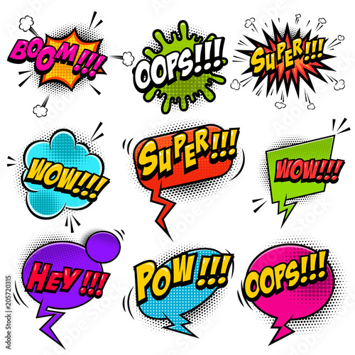 Canvas Pop Art Set of comic style speech bubbles with sound text effects.Design elements for poster, t shirt, banner.