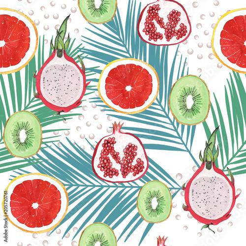 akwarela-egzotycznych-owocow-z-lisci-palmowych-wzor-na-bialym-tle