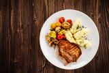 Grilled steak with mashed potatoes and vegetables  - 205722127