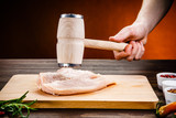 Raw chicken fillet on cutting board - 205722380