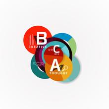 Geometric Option Infographic Banners A B C Steps Process Sticker
