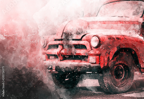 watercolor red car - 205726375