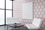 Pink honeycomb office lounge, poster side vew