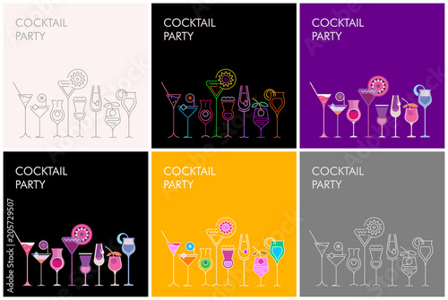 Aluminium Abstractie Art Cocktail Party vector banners