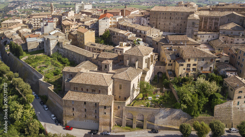 Aerial view of the municipality of Osimo, in the province of Ancona, in the Marche region, in Italy. The historic center, located on the highest hill of the city, called Gòmero, is a mountain tourist.