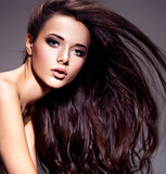 Portrait of the beautiful  young woman with long brown  hair - 205734740
